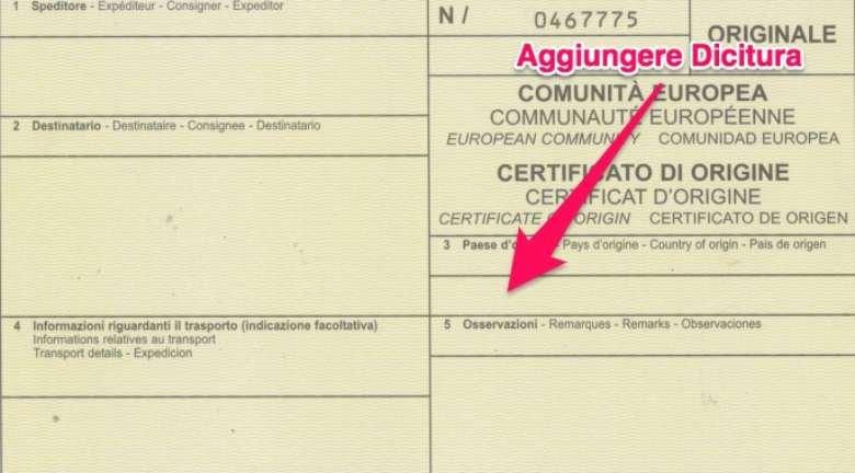 certificato di origine proforma