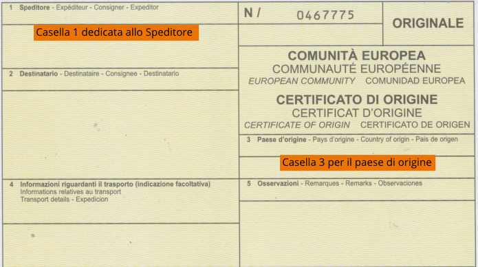 Esempio certificato di origine per conto