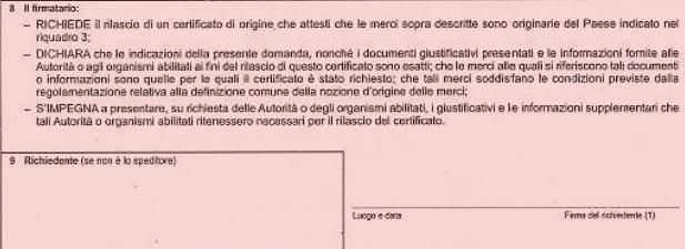 certificato di origine