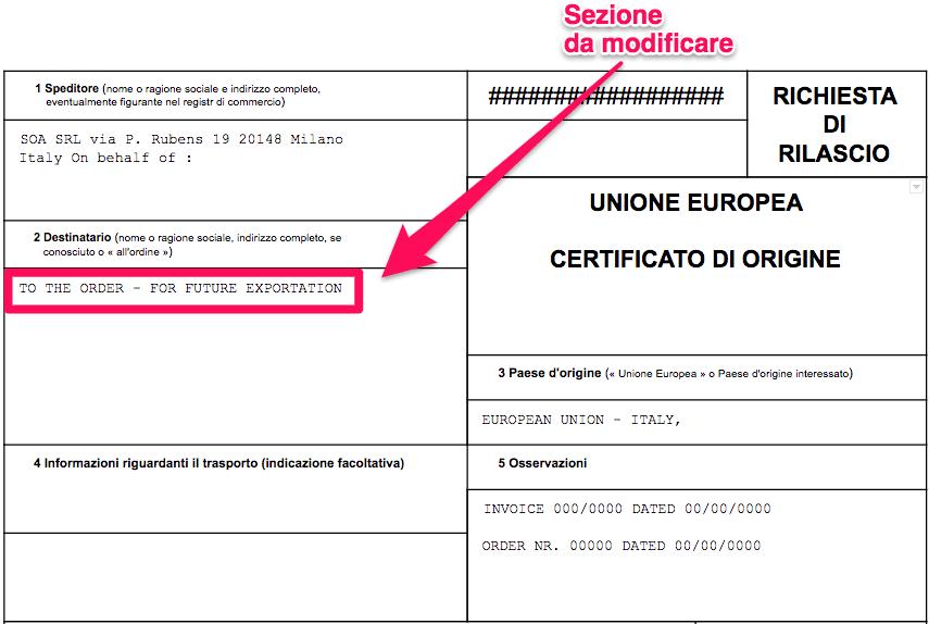 Come fare il certificato di origine ai clienti italiani